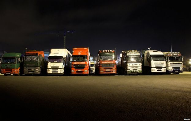Lorries at night time