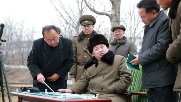 The North Korean leader gives instructions during a simulated test of atmospheric re-entry of a ballistic missile