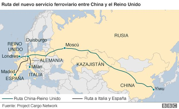 Mapa de la ruta del tren China-Reino Unido