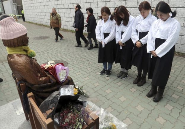 Ativistas prestam respeito a estátua em Seul