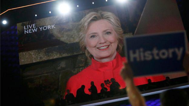 El martes de noche Hillary Clinton dio un breve discurso en vivo desde Nueva York para cerrar la histórica jornada de la convención demócrata en Filadelfia donde fue elegida candidata a la presidencia.