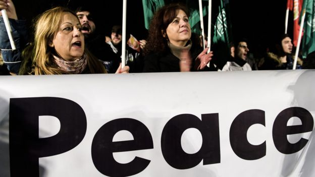 Cyprus peace rally in Nicosia buffer zone, 10 Jan 17