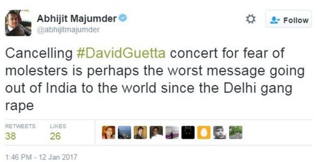 Cancelling #DavidGuetta concert for fear of molesters is perhaps the worst message going out of India to the world since the Delhi gang rape