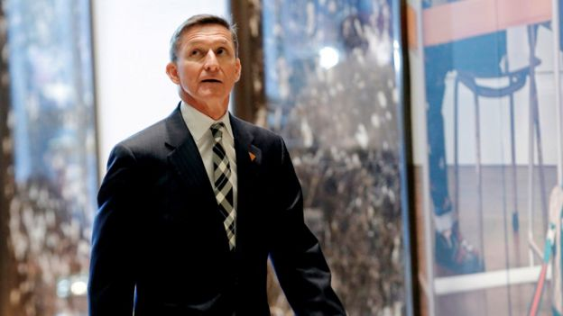 Retired U.S. Army Lieutenant General Michael Flynn arrives to meet with US President-elect Donald Trump at Trump Tower