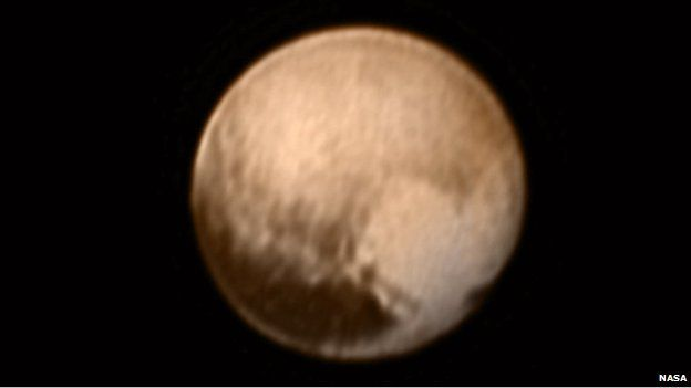 A close-up image of the dwarf planet Pluto