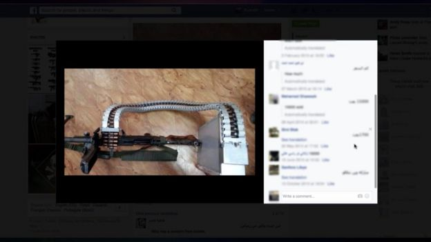 An example of a weapon for sale on Facebook