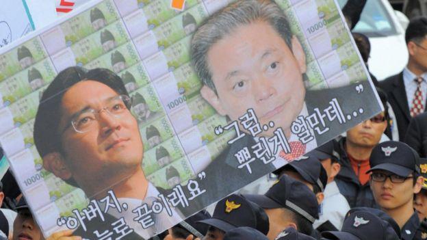Cartel con imagen de Kun-hee y Jae-yong en unas protestas.