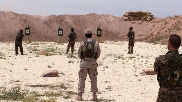 Syrian Arab trainees at an undisclosed training range in northern Syria on May 21, 2016