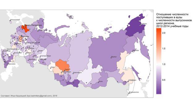 Карта наиболее привлекательных для молодежи регионов