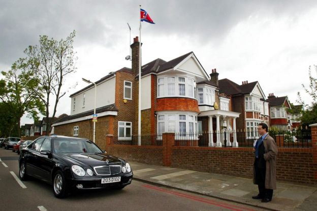 Photo taken on 30 April 2003 showing a diplomatic car driving away from the North Korea (DPRK) Embassy in a residential area in Ealing, west London.