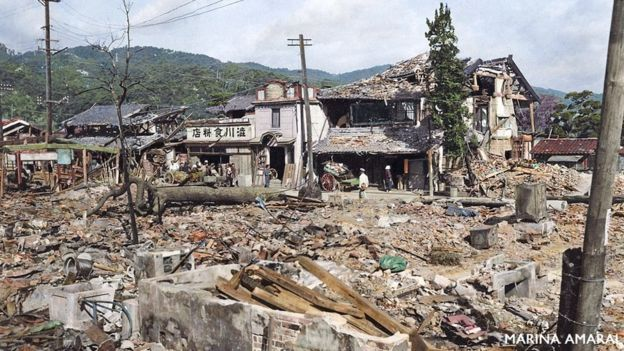 Destruição da cidade de Hiroshima, no Japão, pela bom atômica durante a 2ª Guerra