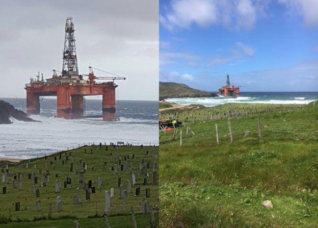ВШотландии наберег выбросило нефтяную платформу