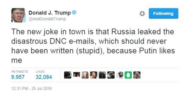 Donald Trump tweet: The new joke in town is that Russia leaked the disastrous DNC emails, which should never have been written (stupid), because Putin likes me