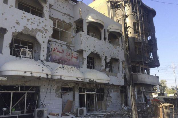 A damaged building in Kirkuk, 22 October.... Truenewsblog.com