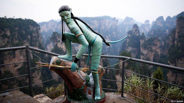 An Avatar statue is seen at the Tianzi Mountain 1 September 2013