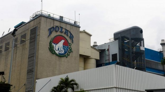 Partial view of the plant of Cerveceria Polar, maker of Venezuela