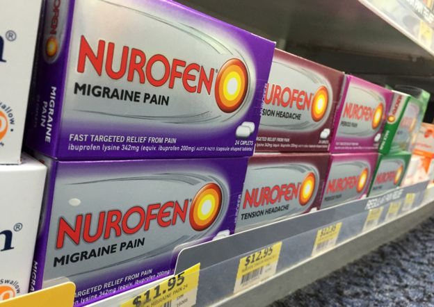 Different types of Nurofen on Australian pharmacy shelf