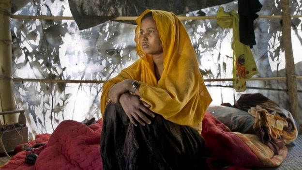 A woman pictured in Balu Kali Rohingya refugee camp in Cox's Bazar, Bangladesh