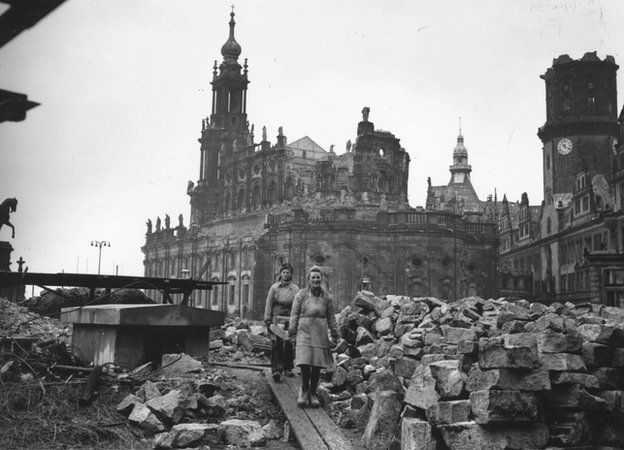 13th February 1946: Women workers removing debris from the shell of the Hof Kirche, the Catholic cathedral in Dresden, Germany