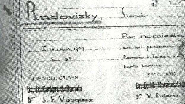 Ficha del prontuario 13.651 Simón Radowitzky, Sección Orden Social de la Policía de Buenos Aires