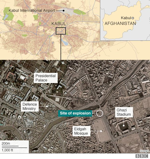 A map showing locations in Kabul attacked by militants