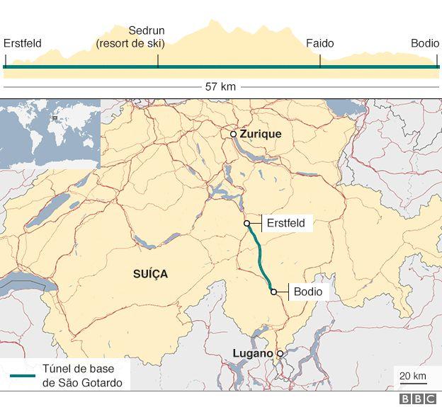 Mapa mostra extensão de túnel