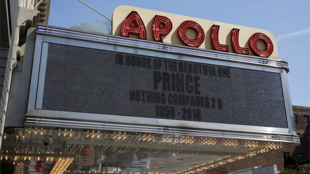 A sign at the Apollo Theatre in New York reads:
