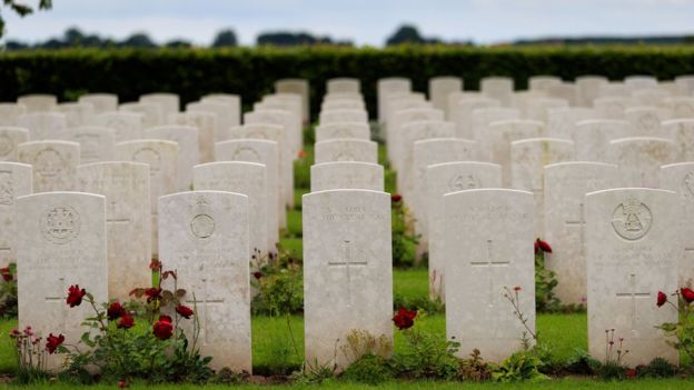 Graves in France of soldiers who fought at the Battle of the Somme