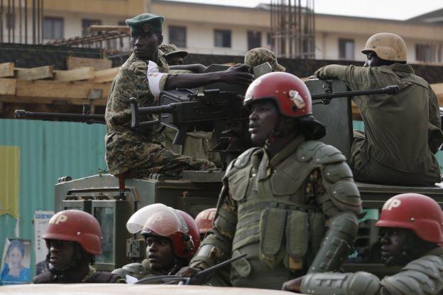 Security forces in Kampala, Uganda, 20 February
