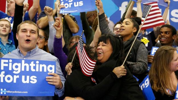 Hillary Clinton supporters celebrate her win in the South Carolina primary