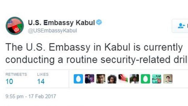 """السفارة الأمريكية تقول إن تدريبا متعلقا بالاجراءات الأمنية """"وراء دوي الانفجار"""" في مقرها بالعاصمة الأفغانية"""
