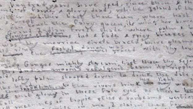 Fragment of the Charlotte Bronte poem