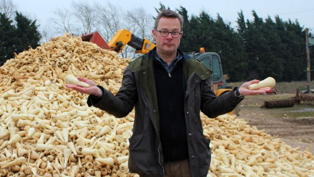 Hugh Fearnley-Whittingstall standing in front of a mountain of parsnips