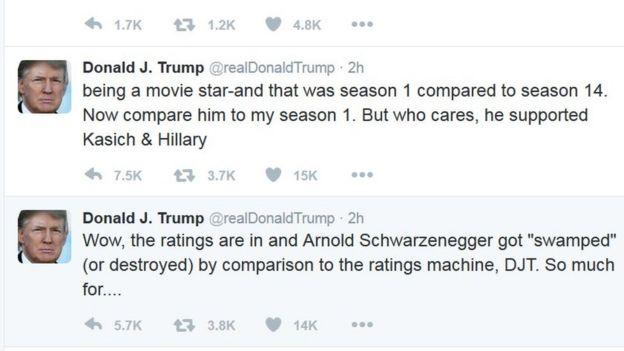 Le président élu des Etats-Unis a raillé les premières audiences de Schwarzenegger
