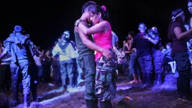 Rebels dance during the Farc conference