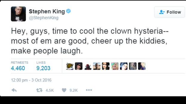 This picture shows a tweet sent by the writer Stephen King, telling people to