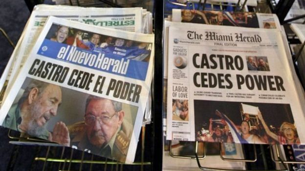 Jornais quando Fidel deixou o poder