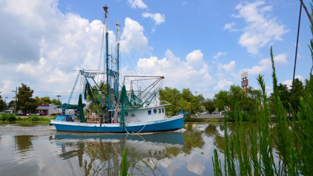A shrimp boat heading out to fish on Bayou Lafourche