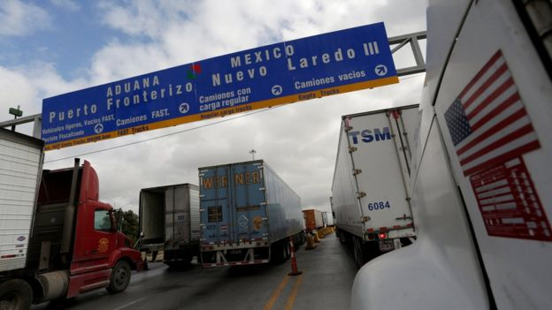 World Trade Bridge in Nuevo Laredo, Mexico, 2 November 2016