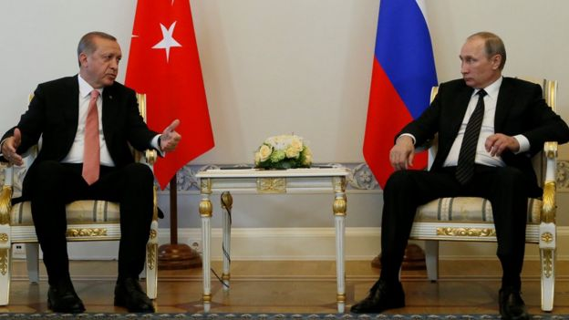 President Recep Tayyip Erdogan of Turkey and President Vladimir Putin of Russia, 9 Aug 16