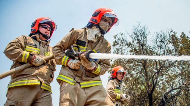 Bomberos con una manguera combatiendo las llamas