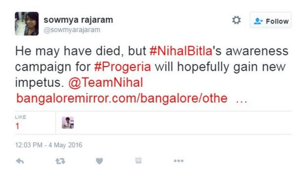 He may have died, but #NihalBitla's awareness campaign for #Progeria will hopefully gain new impetus. @TeamNihal