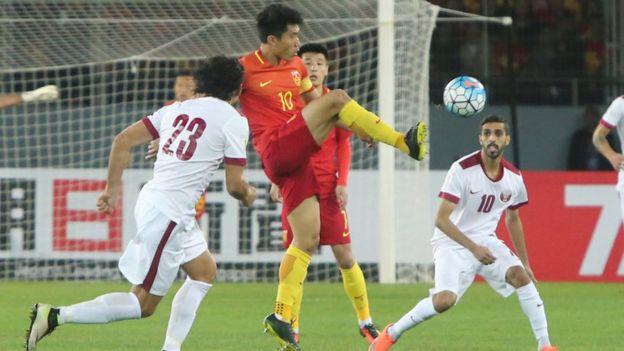 Jogo entre China e Catar em novembro de 2016
