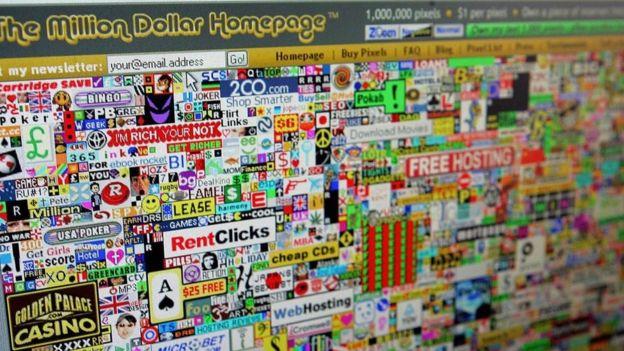 Una captura de pantalla de la Página del Millón de Dólares