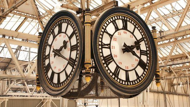 Reloj en la estación de Waterloo.