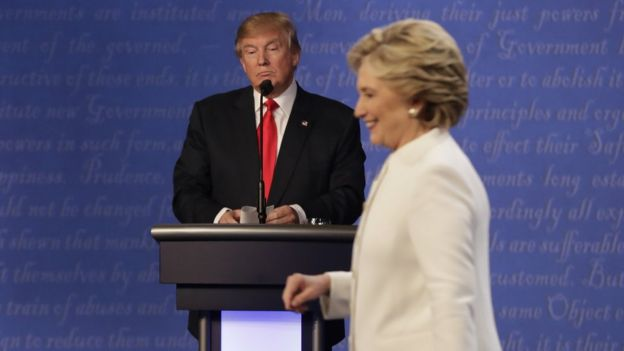 Donald Trump and Hillary Clinton during the debate