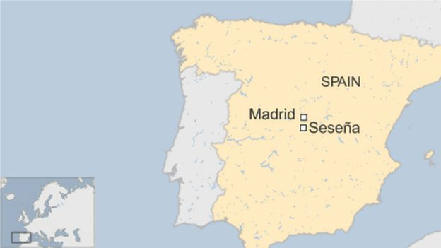 map of Spain showing Sesena and Madrid