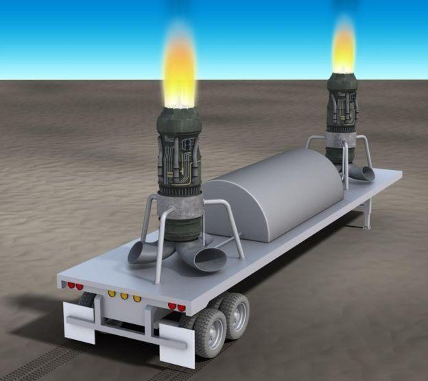 噴氣發動機安裝在平板拖車上