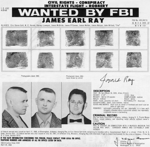 FBI wanted poster of James Earl Ray