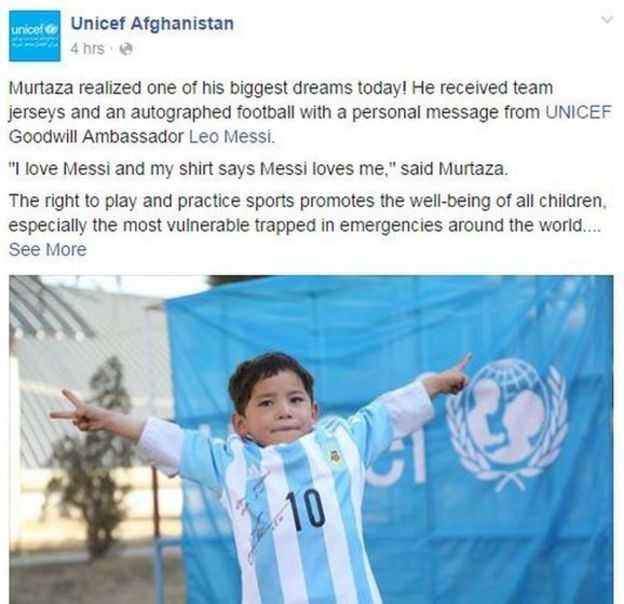 Unicef Facebook post